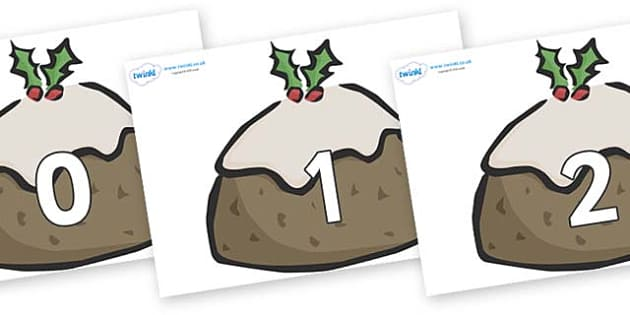 Numbers 0-100 on Christmas Puddings - 0-100, foundation stage numeracy, Number recognition, Number flashcards, counting, number frieze, Display numbers, number posters