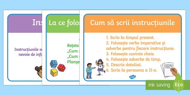 Instrucțiuni pentru scrierea de afișe Planșe