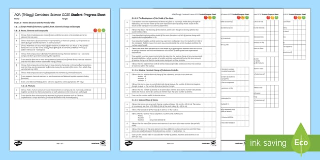 AQA Trilogy Unit 5.1 Atomic Structure and the Periodic Table Student Progress Sheet - Student Progress Sheets, chemistry, revision, atom, atomic structure, periodic table