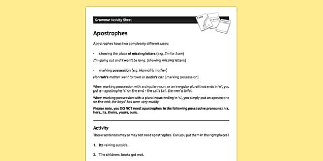 KS3 English Curriculum Apostrophes Activity Sheet  - ks3, english, curriculum, activity sheet, apostrophes, grammar, worksheet