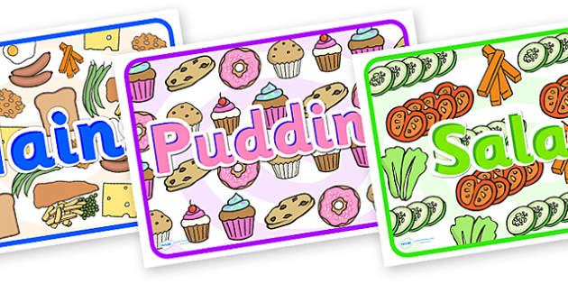 Mains Pudding Salad Display Posters - mains, pudding, salad, display posters, posters for display, posters showing meals, food posters, different meals
