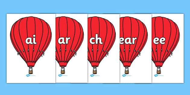 Phase 3 Phonemes on Hot Air Balloons - Phonemes, hot air balloon, phoneme, Phase 3, Phase three, Foundation, Literacy, Letters and Sounds, Alphabet, A-Z letters, Alphabet flashcards, letters and sounds, DfES, display, balloon, balloons, hot air ballo