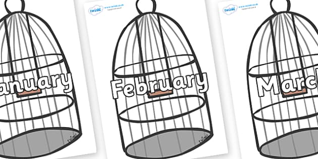 Months of the Year on Cages - Months of the Year, Months poster, Months display, display, poster, frieze, Months, month, January, February, March, April, May, June, July, August, September