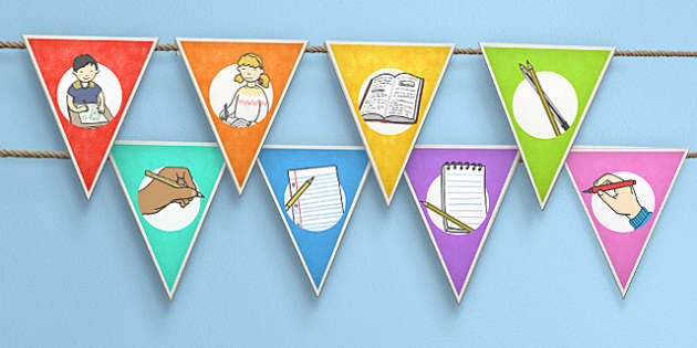 Everybody Writes Day Bunting - bunting, writing, display, write