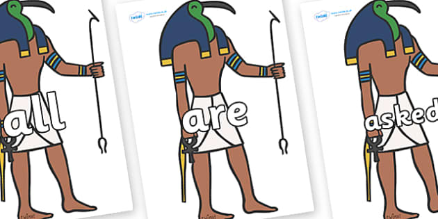 Tricky Words on Egyptian Gods - Tricky words, DfES Letters and Sounds, Letters and sounds, display, words