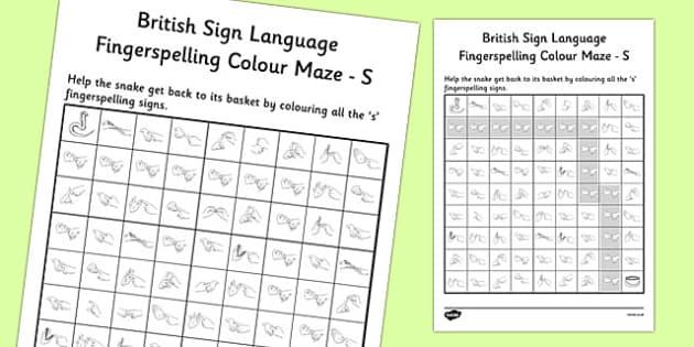 British Sign Language Left Handed Fingerspelling Colour Maze S