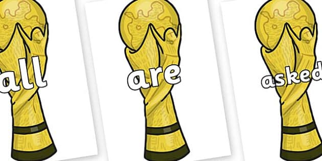 Tricky Words on World Cup Trophy - Tricky words, DfES Letters and Sounds, Letters and sounds, display, words