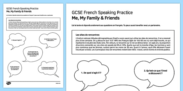 Les sites de rencontres Speaking Practice Activity Sheet - French, worksheet