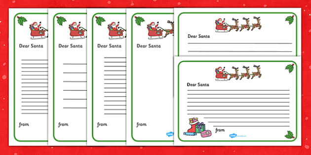 Letter to Santa - Christmas, xmas, letter, santa, present, father christmas, writing aid, tree, advent, nativity, santa, father christmas, Jesus, tree, stocking, present, activity, cracker, angel, snowman, advent , bauble, writing to santa