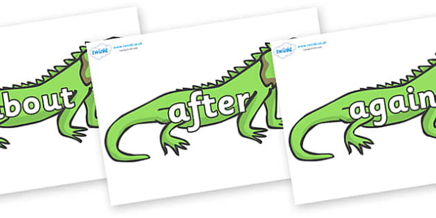 KS1 Keywords on Iguanas - KS1, CLL, Communication language and literacy, Display, Key words, high frequency words, foundation stage literacy, DfES Letters and Sounds, Letters and Sounds, spelling