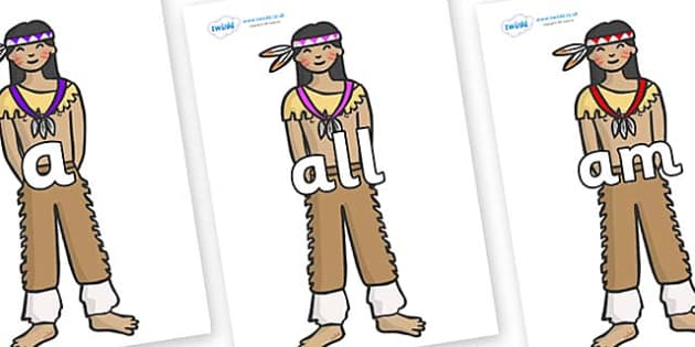 Foundation Stage 2 Keywords on Native Americans - FS2, CLL, keywords, Communication language and literacy,  Display, Key words, high frequency words, foundation stage literacy, DfES Letters and Sounds, Letters and Sounds, spelling