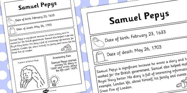 Samuel Pepys Significant Individual Fact Sheet - Samuel, Pepys