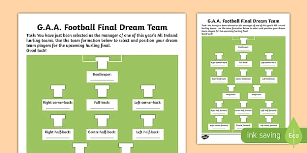 G.A.A. Football Final Dream Team Activity Sheet-Irish, worksheet