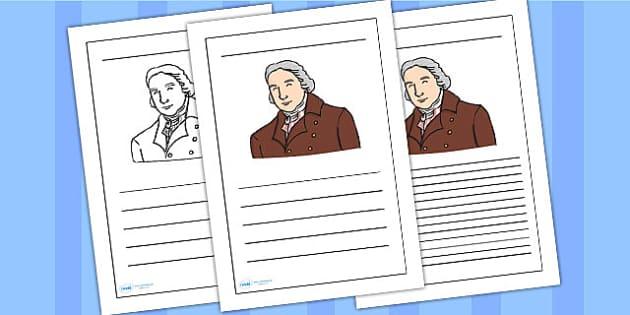 Edward Jenner Writing Frame - edward jenner, writing frame, writing template, writing guide, writing aid, line guide, writing guide, themed writing aid