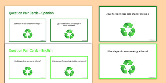 General Conversation Global Issues Question Pair Cards Spanish