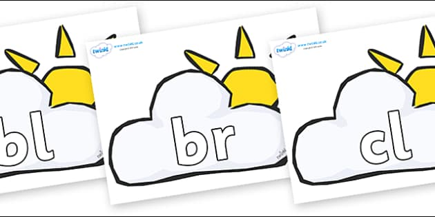 Initial Letter Blends on Weather Symbols (Sun & Cloud) - Initial Letters, initial letter, letter blend, letter blends, consonant, consonants, digraph, trigraph, literacy, alphabet, letters, foundation stage literacy