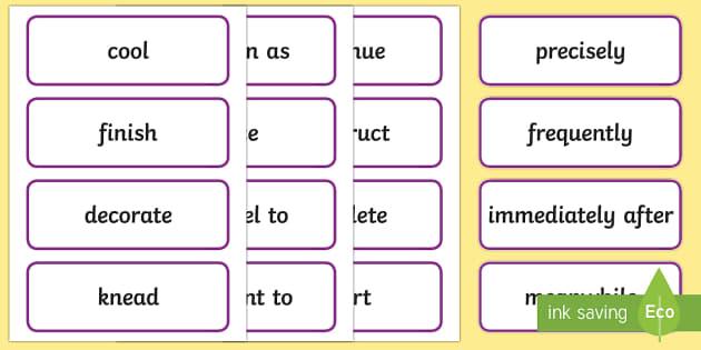 Stage 3 Procedure Language Word Cards - Literacy, english, writing, year 5, year 6, procedure, language, vocabulary, spelling, description,
