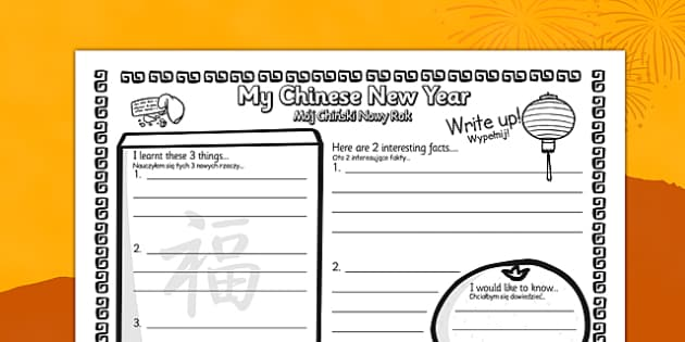 Chinese New Year Write Up Worksheet Polish Translation - polish, chinese new year, write up, worksheet