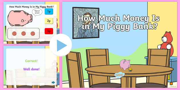 How Much Money is in My Piggy Bank PowerPoint Quiz - money, count