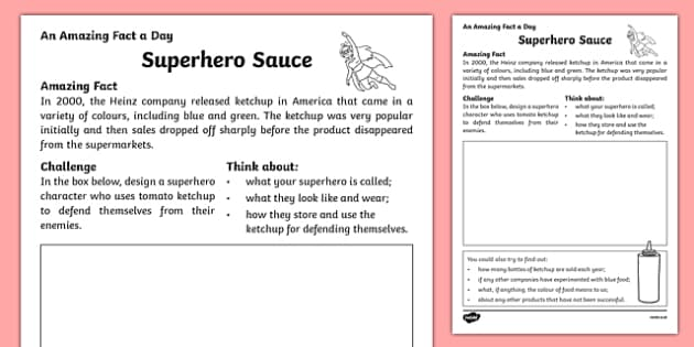 Superhero Sauce Activity Sheet, worksheet