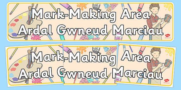 Mark Making Area Display Banner Welsh Translation - welsh, cymraeg, Foundation Phase, Display Banner, Mark-making, Emergent writing