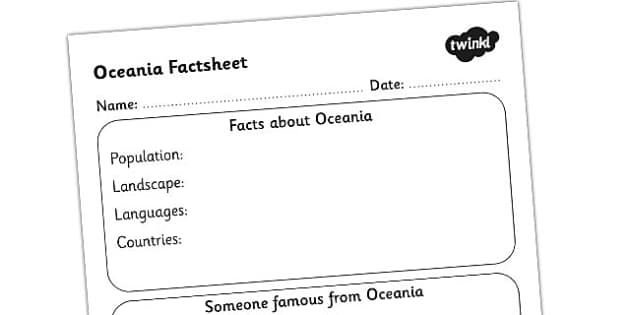 Oceania Factsheet Writing Template - oceania, oceania fact sheet, oceania fact file, oceania worksheet, facts about oceania, ks2 geography, ks2 places