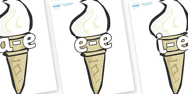 Modifying E Letters on Ice Creams - Modifying E, letters, modify, Phase 5, Phase five, alternative spellings for phonemes, DfES letters and Sounds