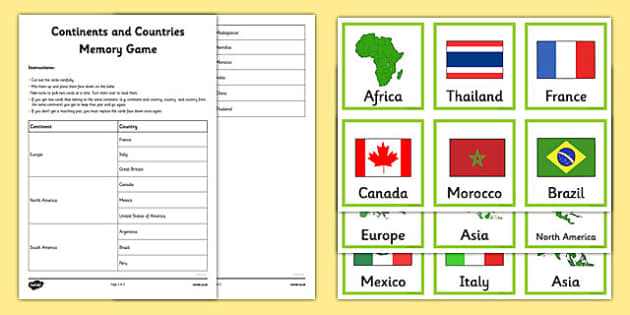 Continents and Countries Memory Game - continents, memory, pairs, game, countries