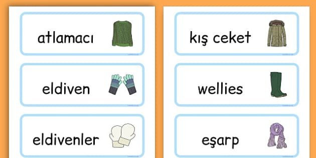 Winter Clothes Word Cards - winter clothes, word cards, winter, clothes - Turkish