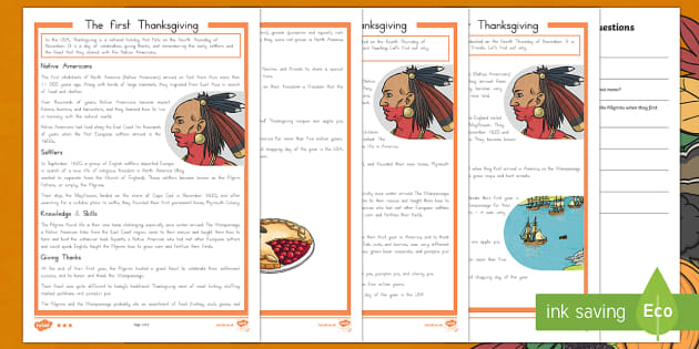 The First Thanksgiving Differentiated Reading Comprehension Activity- Thanksgiving Reading Worksheet