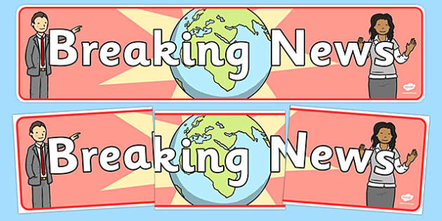Breaking News Display Banner - breaking news, display, banner, sign, poster, news, newsroom, news presenter, reporter, camera, headlines, story, press, camera operator, bulletin