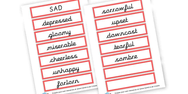 Alternative Words For Sad - Grammar Activity Primary Resources, grammar aids, activities