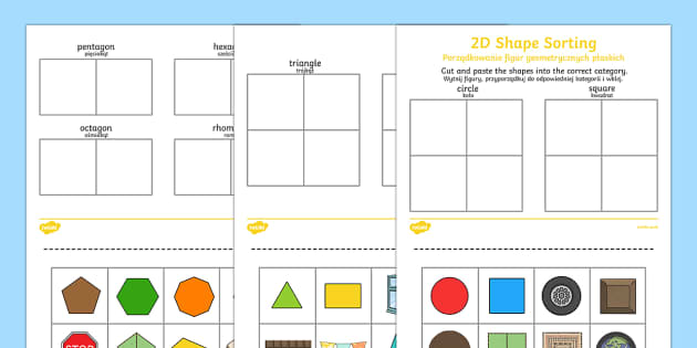 2D shape sorting activity sheet English/Polish
