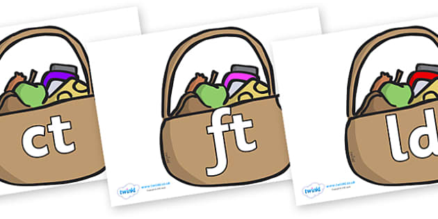 Final Letter Blends on Baskets - Final Letters, final letter, letter blend, letter blends, consonant, consonants, digraph, trigraph, literacy, alphabet, letters, foundation stage literacy