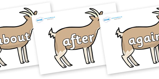 KS1 Keywords on Goats - KS1, CLL, Communication language and literacy, Display, Key words, high frequency words, foundation stage literacy, DfES Letters and Sounds, Letters and Sounds, spelling