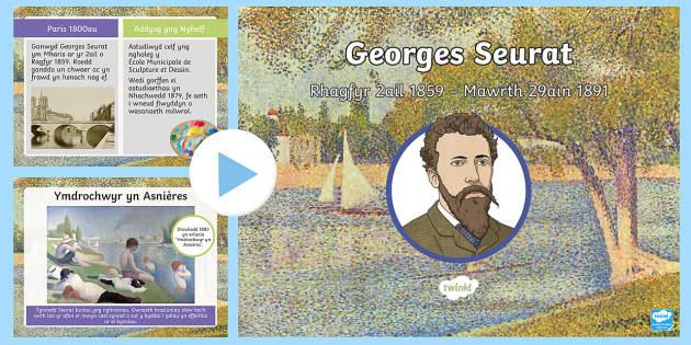 Pŵerpwynt Georges Seurat - Celf, CA2, Cymraeg, Iaith, Georges Seurat, pwyntilydd, celfeddydau, artist, artistiaid,Welsh