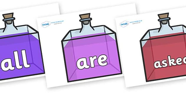 Tricky Words on Perfume Bottles - Tricky words, DfES Letters and Sounds, Letters and sounds, display, words