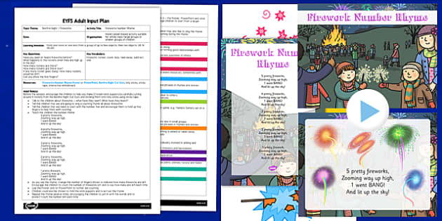 Fireworks Number Rhyme EYFS Adult Input Plan and Resource Pack - fireworks, number, rhyme, eyfs