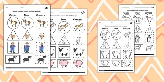 On the Farm 2D Shape Colour Trace and Join the Dots - colours