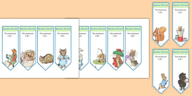 Beatrix Potter Bookmarks - beatrix potter, author, bookmarks, page mark, read, reward