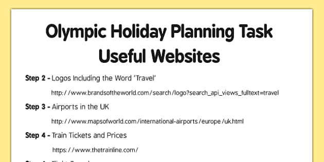 Olympic Holiday Planning Task Useful Websites - Plan, itinerary, year 6, after SATS, post SATS, maths project, real life, application, year 6 project