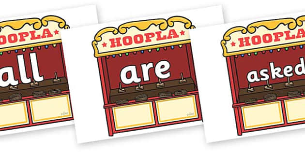 Tricky Words on Hoopla Stands - Tricky words, DfES Letters and Sounds, Letters and sounds, display, words