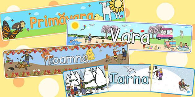 Cele patru anotimpuri - Bannere - anotimpuri, banner, vara, primăvara, toamna, iarna, științe, decor, materiale, materiale didactice, română, romana, material, material didactic