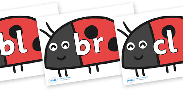 Initial Letter Blends on Ladybird to Support Teaching on What the Ladybird Heard - Initial Letters, initial letter, letter blend, letter blends, consonant, consonants, digraph, trigraph, literacy, alphabet, letters, foundation stage literacy