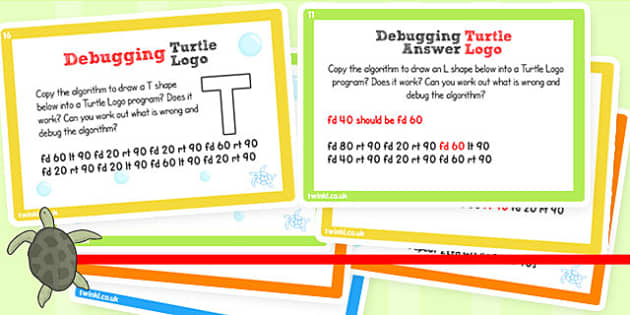 ICT Challenge Cards Debugging Turtle Logo - ICT, Turtle, Logo