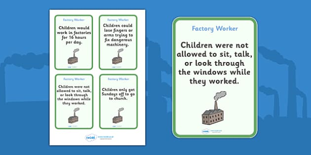 The Victorians Factory Worker Flash Cards - Victorians, Queen Victoria, factory, cards, word cards, flashcards, 19th century, British History, Britain, Victorian toys, Victorian school, butler