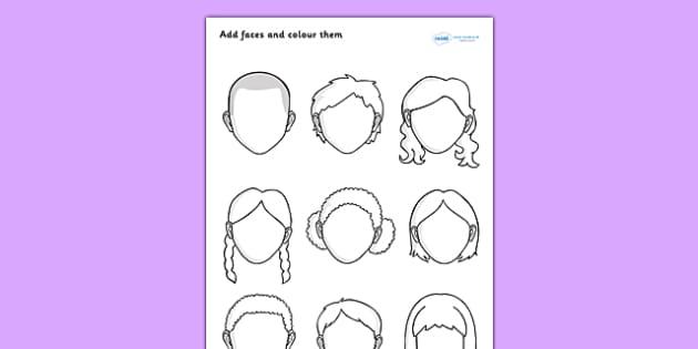 Blank Faces Worksheet - blank faces, faces, blank worksheet