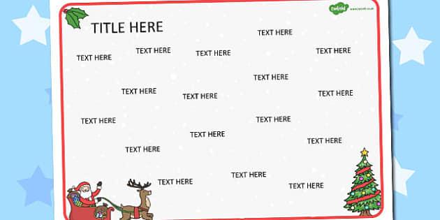Christmas Themed Editable Word Mat - literacy, words
