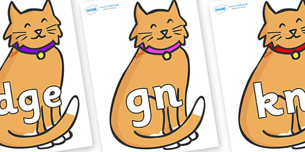 Silent Letters on Pussy Cats - Silent Letters, silent letter, letter blend, consonant, consonants, digraph, trigraph, A-Z letters, literacy, alphabet, letters, alternative sounds