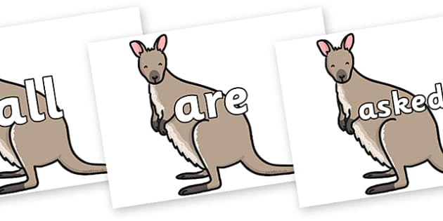 Tricky Words on Wallaby - Tricky words, DfES Letters and Sounds, Letters and sounds, display, words